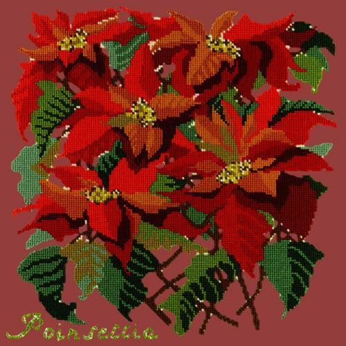Poinsettia Needlepoint Kit Elizabeth Bradley Design Dark Red