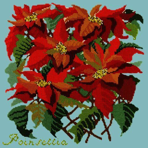 Poinsettia Needlepoint Kit Elizabeth Bradley Design Duck Egg Blue