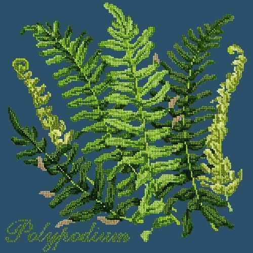 Polypodium Needlepoint Kit Elizabeth Bradley Design Dark Blue