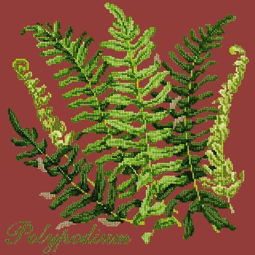 Polypodium Needlepoint Kit Elizabeth Bradley Design Dark Red
