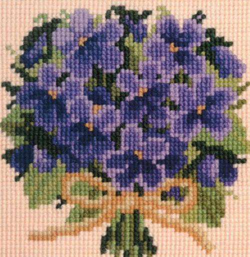 Posy of Violets Mini Kit Needlepoint Kit Elizabeth Bradley Design