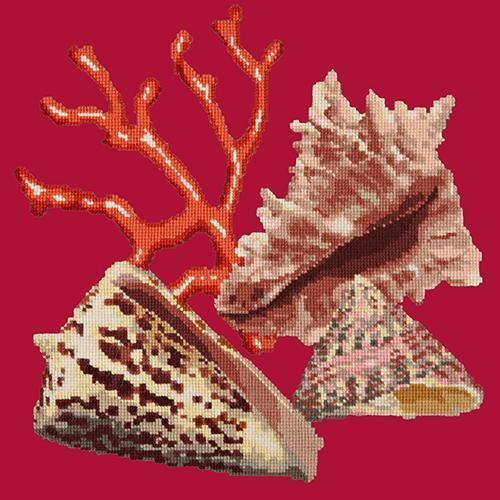 Red Coral Needlepoint Kit Elizabeth Bradley Design Bright Red