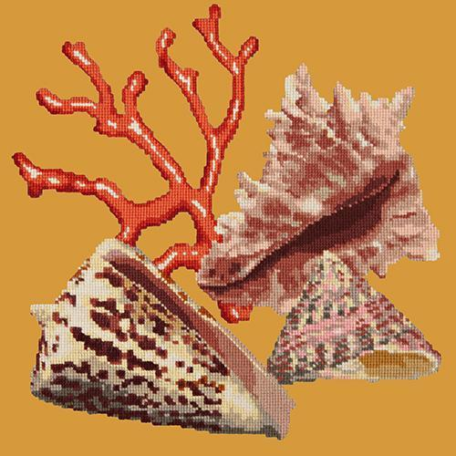 Red Coral Needlepoint Kit Elizabeth Bradley Design Yellow