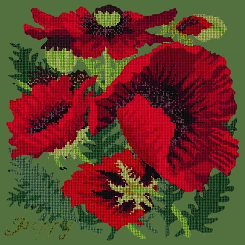 Red Poppy Needlepoint Kit Elizabeth Bradley Design Dark Green