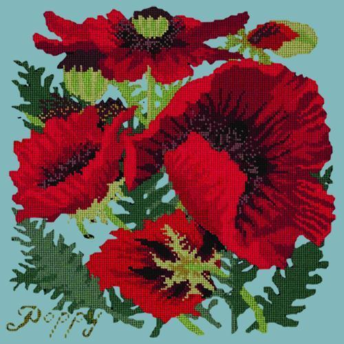 Red Poppy Needlepoint Kit Elizabeth Bradley Design Duck Egg Blue