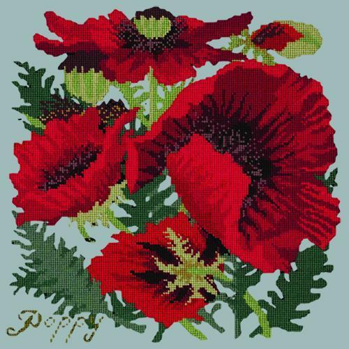 Red Poppy Needlepoint Kit Elizabeth Bradley Design Pale Blue