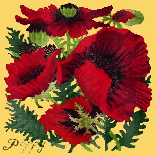 Red Poppy Needlepoint Kit Elizabeth Bradley Design Sunflower Yellow