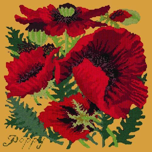 Red Poppy Needlepoint Kit Elizabeth Bradley Design Yellow