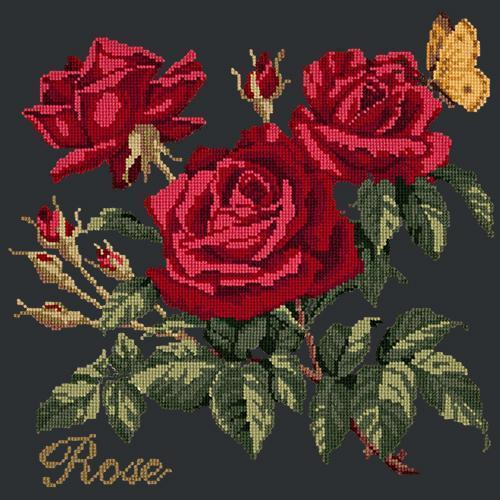 Rose Needlepoint Kit Elizabeth Bradley Design Black