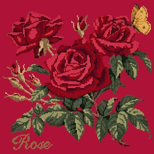 Rose Needlepoint Kit Elizabeth Bradley Design Bright Red