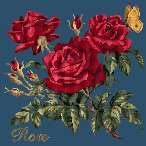 Rose Needlepoint Kit Elizabeth Bradley Design Dark Blue