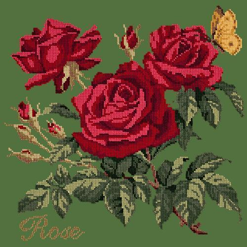 Rose Needlepoint Kit Elizabeth Bradley Design Dark Green