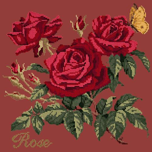 Rose Needlepoint Kit Elizabeth Bradley Design Dark Red