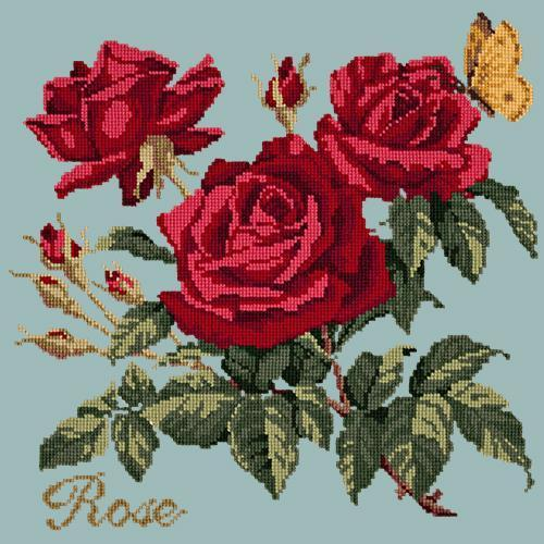 Rose Needlepoint Kit Elizabeth Bradley Design Pale Blue