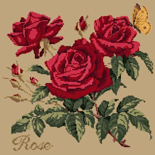 Rose Needlepoint Kit Elizabeth Bradley Design Sand