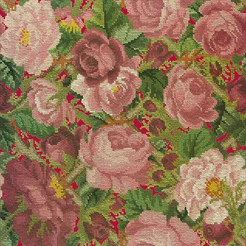 Rose Trellis Needlepoint Kit Elizabeth Bradley Design Bright Red