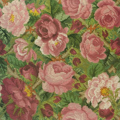Rose Trellis Needlepoint Kit Elizabeth Bradley Design Dark Green