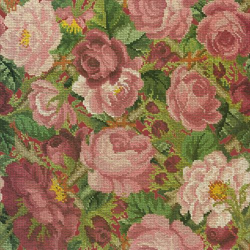Rose Trellis Needlepoint Kit Elizabeth Bradley Design Dark Red