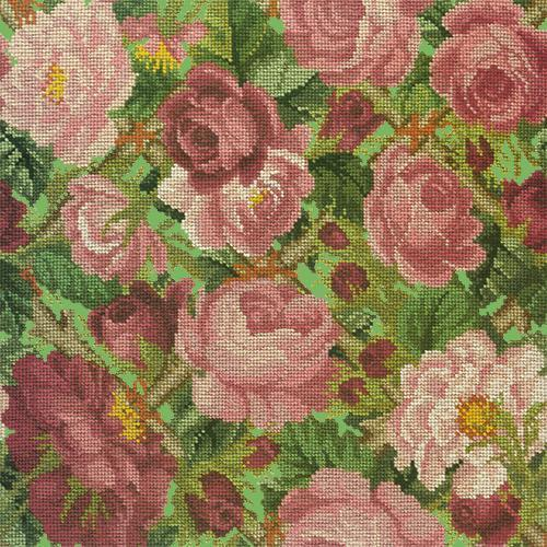 Rose Trellis Needlepoint Kit Elizabeth Bradley Design Grass Green
