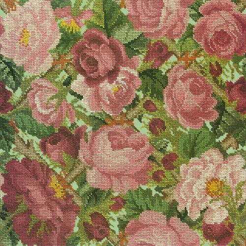 Rose Trellis Needlepoint Kit Elizabeth Bradley Design Pale Green