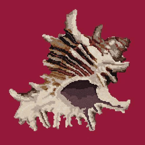 Spiky Conch Needlepoint Kit Elizabeth Bradley Design Bright Red