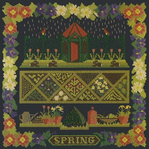 Spring Sampler Needlepoint Kit Elizabeth Bradley Design Black