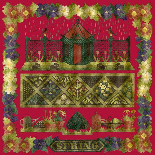 Spring Sampler Needlepoint Kit Elizabeth Bradley Design Bright Red