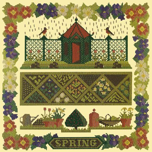 Spring Sampler Needlepoint Kit Elizabeth Bradley Design Butter Yellow