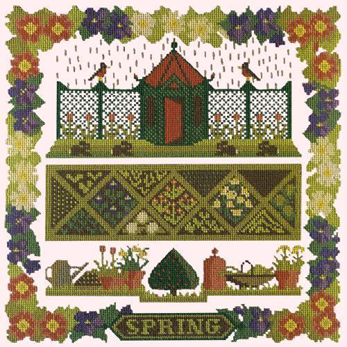 Spring Sampler Needlepoint Kit Elizabeth Bradley Design Cream
