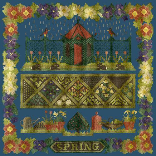 Spring Sampler Needlepoint Kit Elizabeth Bradley Design Dark Blue