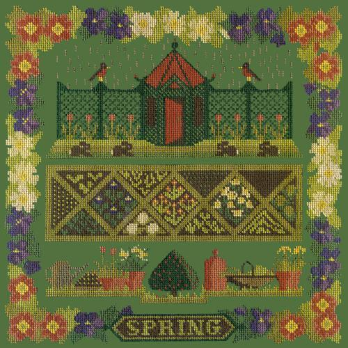 Spring Sampler Needlepoint Kit Elizabeth Bradley Design Dark Green