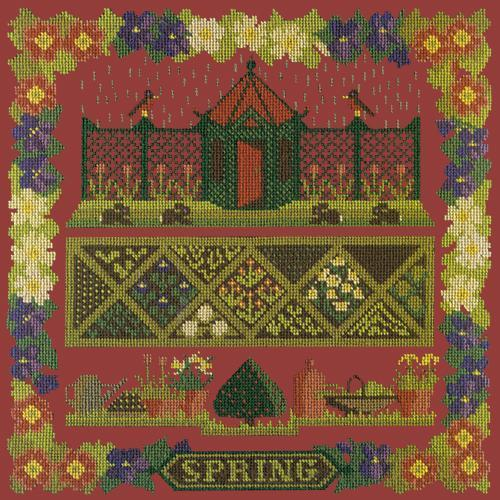 Spring Sampler Needlepoint Kit Elizabeth Bradley Design Dark Red