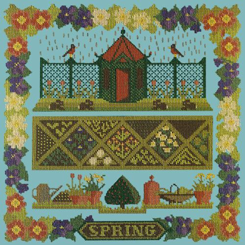 Spring Sampler Needlepoint Kit Elizabeth Bradley Design Duck Egg Blue
