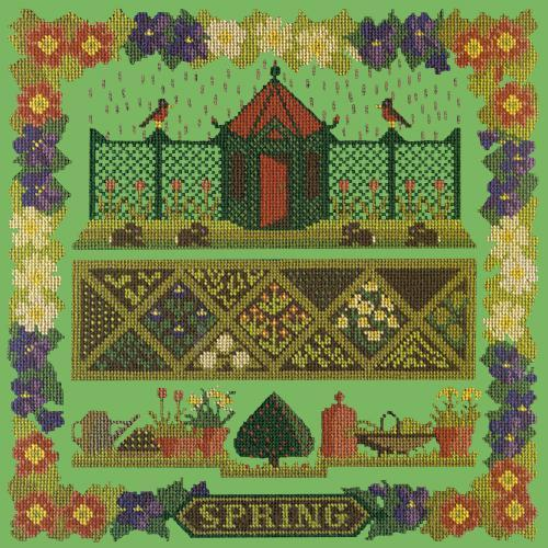 Spring Sampler Needlepoint Kit Elizabeth Bradley Design Grass Green