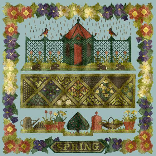 Spring Sampler Needlepoint Kit Elizabeth Bradley Design Pale Blue