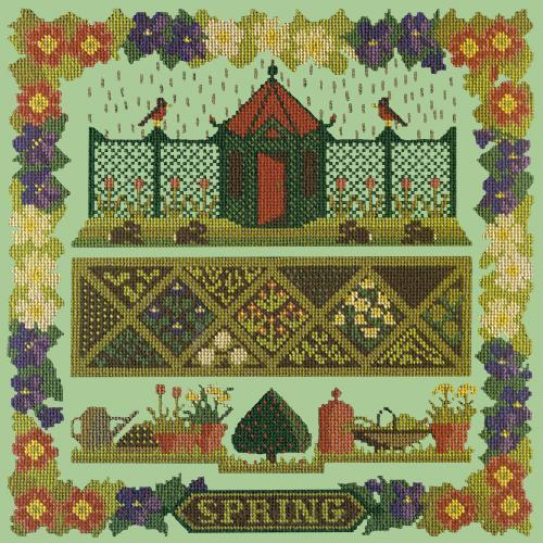 Spring Sampler Needlepoint Kit Elizabeth Bradley Design Pale Green
