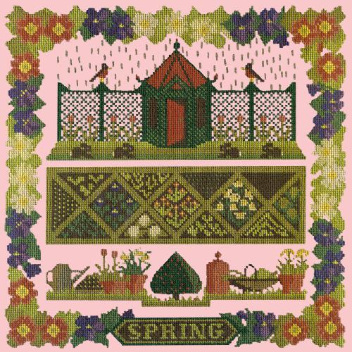 Spring Sampler Needlepoint Kit Elizabeth Bradley Design Pale Rose