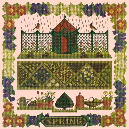Spring Sampler Needlepoint Kit Elizabeth Bradley Design Salmon Pink