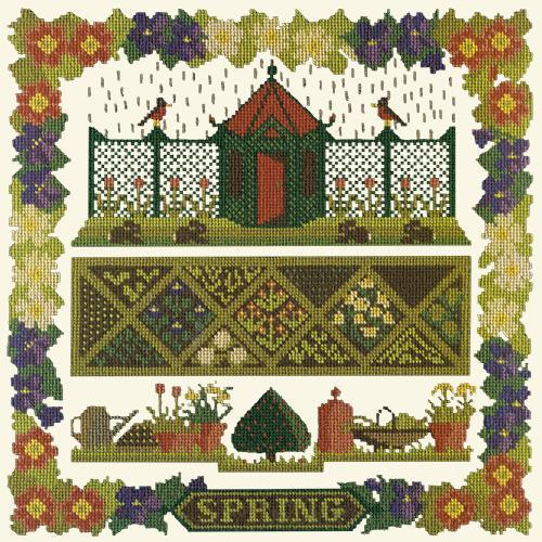 Spring Sampler Needlepoint Kit Elizabeth Bradley Design Winter White