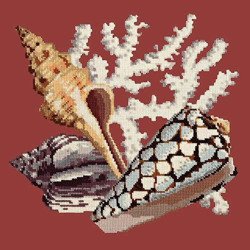 Staghorn Needlepoint Kit Elizabeth Bradley Design Dark Red