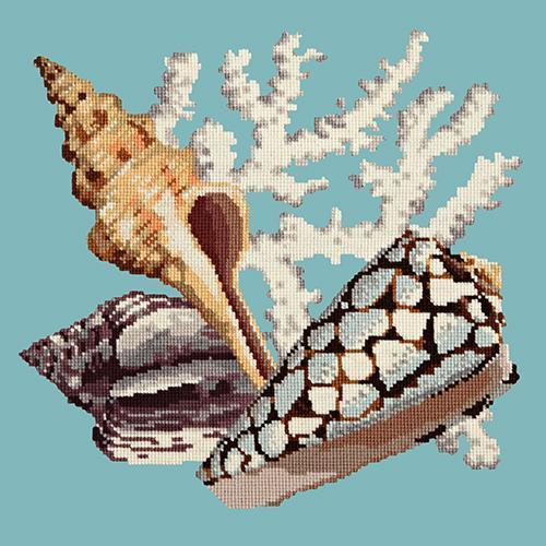 Staghorn Needlepoint Kit Elizabeth Bradley Design Duck Egg Blue