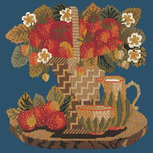 Strawberries Needlepoint Kit Elizabeth Bradley Design Dark Blue
