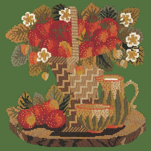 Strawberries Needlepoint Kit Elizabeth Bradley Design Dark Green