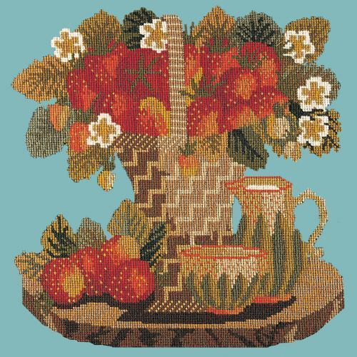 Strawberries Needlepoint Kit Elizabeth Bradley Design Duck Egg Blue