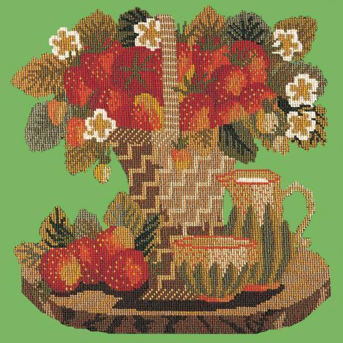 Strawberries Needlepoint Kit Elizabeth Bradley Design Grass Green