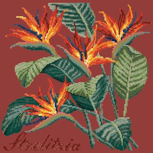 Strelitzia (Bird of Paradise) Needlepoint Kit Elizabeth Bradley Design Dark Red