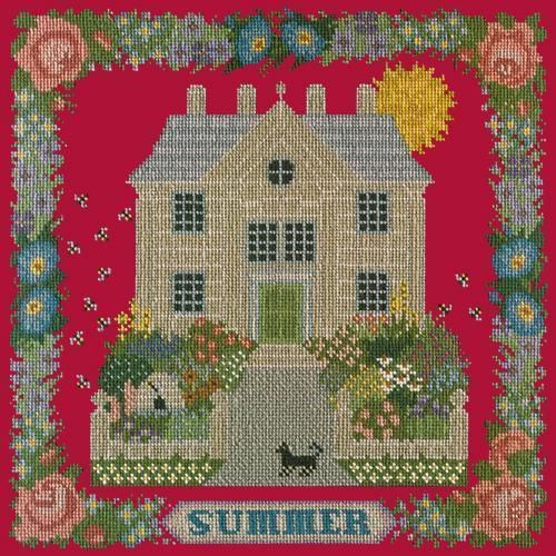 Summer Sampler Needlepoint Kit Elizabeth Bradley Design Bright Red