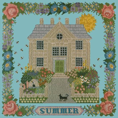Summer Sampler Needlepoint Kit Elizabeth Bradley Design Duck Egg Blue