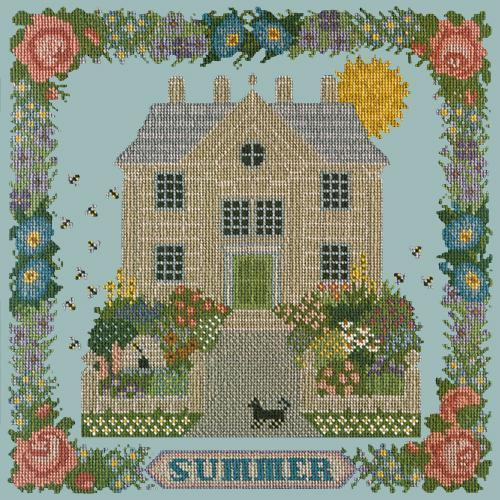 Summer Sampler Needlepoint Kit Elizabeth Bradley Design Pale Blue