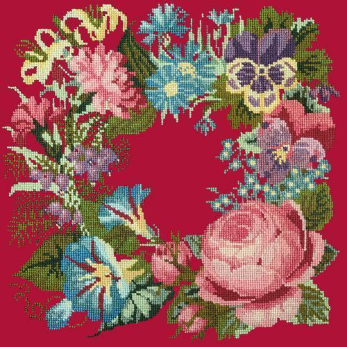 Summer Wreath Needlepoint Kit Elizabeth Bradley Design Bright Red